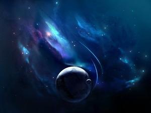 Обои Туманность и планета