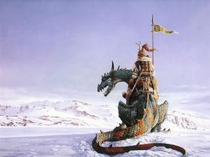 Обои Воин на драконе