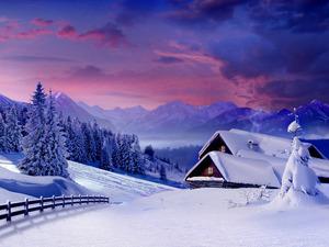 Обои Зимний вечер в горах