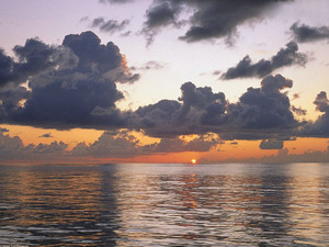 Обои Закат, море, облака