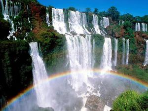 Обои Водопад и радуга