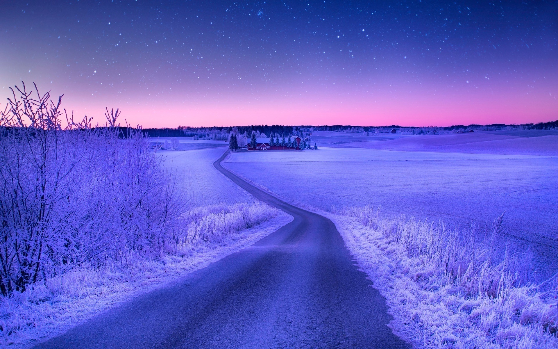 Зимняя дорога обои для рабочего стола
