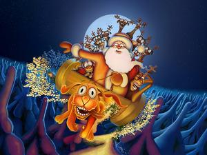 Обои Упряжка Деда Мороза