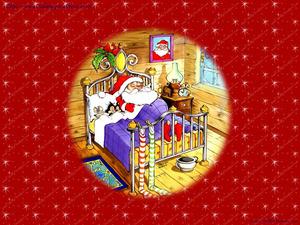 Обои Спящий Санта