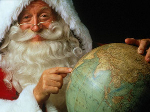 Обои Санта Клаус с глобусом