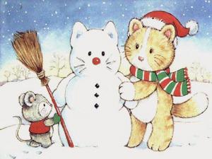 Обои Котик и снеговик