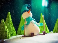 Обои для рабочего стола: Снеговик-лыжник