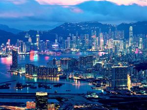 Обои Гонконг, вид на залив Виктория