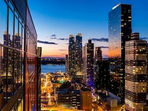 Обои Закат в Нью-Йорке, США