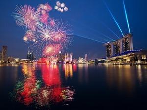 Обои Салют в Сингапуре
