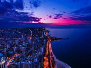 Обои Чикаго после заката